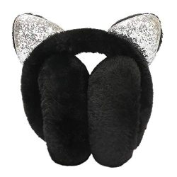 Yamally Adjustable Earmuffs Winter Warm for Women Bow Sequin Cartoon Cat Ears Windproof Warm Plu ...