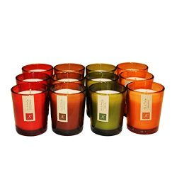 KRIXOT Assorted Set of 12 Colored Glass Votives in 4 Fragrances | Pumpkin Spice, Fall Leaves, Ci ...