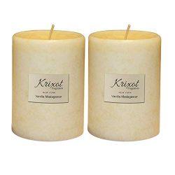 KRIXOT Scented Pillar Candles Set of 2 | Vanilla Madagascar in Mottled Design Finish Size 3&#824 ...