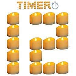 Micandle 12Pcs Led Timer Candle for Christmas,6 Hours on and 18 Hours Off in 24 Hours Cycle, Bat ...