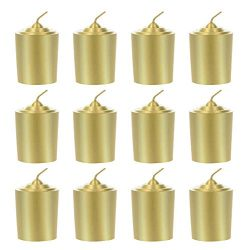 Mega Candles 12 pcs Unscented Gold Votive Candle | Hand Poured Wax Candles 15 Hours 1.5″ x ...