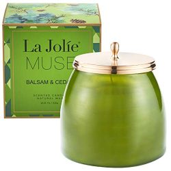 LA JOLIE MUSE Scented Candle Large Glass Jar, 18OZ, Balsam Cedar Natural Soy Wax, Christmas Cand ...