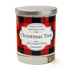 Christmas Tree, Buffalo Plaid 100% Soy Candle Scented with Pine, Cedar, Musk, Hand Poured in The USA