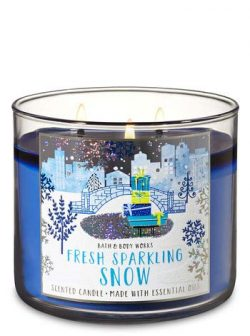 White Barn Bath & Body Works 3 Wick Candle Fresh Sparkling Snow