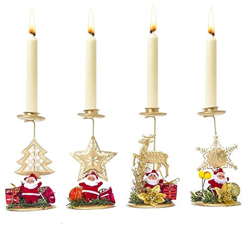Astra Gourmet 4-Pack Christmas Candlestick Holder/Candle Stick Holders/Candle Holder for Dinner  ...