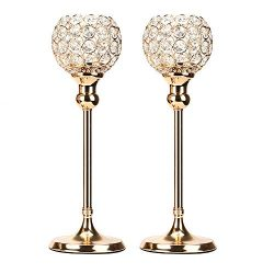 Anferstore Gold Crystal Candle Holders, Modern Romantic Wedding Candle Holders for Dining Table  ...