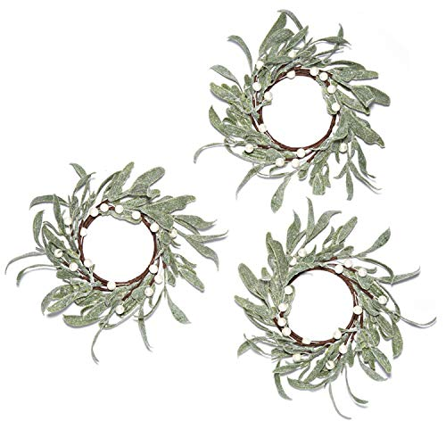 LampLust Christmas Pillar Candle Rings – Set of 3, Mistletoe Wreaths with Pearl Accents, f ...
