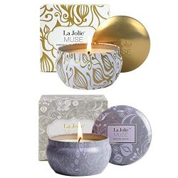 LA JOLIE MUSE Scented Candles Gift Set 2, Blue Lotus & Vanilla Coconut 13OZ, Aromatherapy Na ...