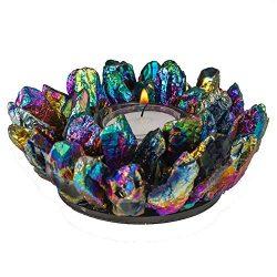 Kalifano 5″ Rainbow Quartz Candle Holder