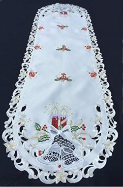 Winter Table Runner – Elegant Embroidered Table Runner Featuring Red Candles and Bells on  ...