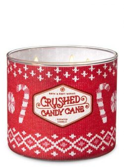 Bath and Body Works Crushed Candy Cane Scented 3 Wick Candle Winter 2018