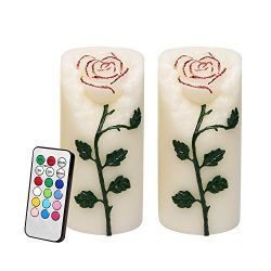 Rose Flower Multi Color Flameless Candles with Remote Timer, Real Wax Battery Operated Led Pilla ...