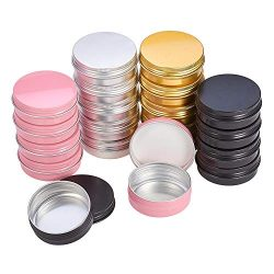 PH PandaHall 2oz 28 Pack Aluminum Tin Cans Round Metal Tin Container Screw Top Steel Tin Cans Co ...