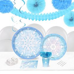 BirthdayExpress Snowflake Winter Wonderland Holiday Party Supplies – Tableware and Decorat ...