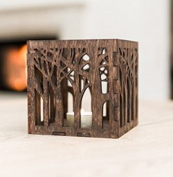 Wooden Candle Lantern 4.3×4.3×4.3 inches – Wooden Candle Holder – Rustic C ...