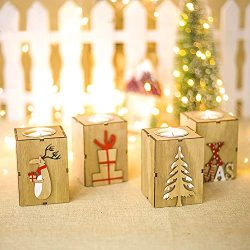 Amazing Home Wooden Tealight Candle Holders Set of 4, 3.5 inches Height Centerpieces for Christm ...