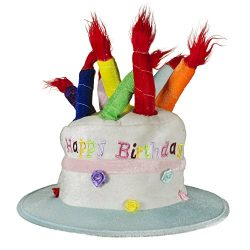 LED Happy Birthday Cake Hat with Light-up Candles for Kids