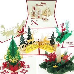 3D Christmas Cards | Set of 6 Xmas Pop Up Greeting Cards & Envelopes | Funny Personalized Ho ...
