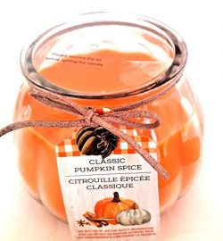 Large Pumpkin Spice Scented Candle in Clear Glass Holiday Pumpkin Jar 16oz