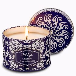 iwax Scented Candles Lavender 8.5 Oz Sustainable Vegan Natural Soy Travel Tin Candles (Lavender)