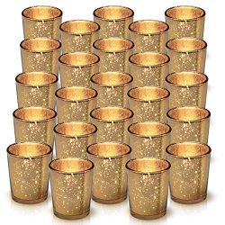 Granrosi Gold Mercury Votive Candle Holder Set of 25 – Made of Mercury Glass with A Speckl ...