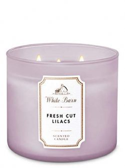 Bath and Body Works/White Barn Fresh Cut Lilacs 3 Wick Candle Burns 25-45 Hours Winter 2018
