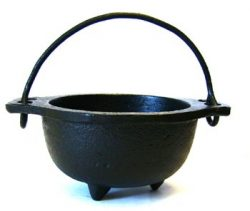 Cast Iron Cauldron w/handle, ideal for smudging, incense burning, ritual purpose, decoration, ca ...
