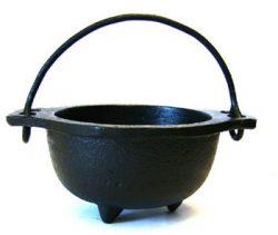 New Age Imports, Inc. 683422113284 Cast Iron Cauldron w, Ideal for smudging, Incense Burning, Ri ...