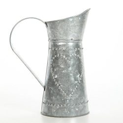 Hosley 9.25″ High Galvanized Decorative Pitcher. Ideal for Home, Wedding, Country Living,  ...