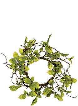 Sullivans Artificial Leaves and Twigs Candle Ring Wreath, 6″