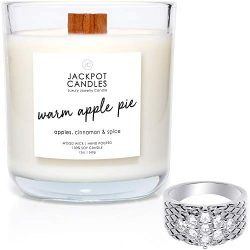 Jackpot Candles Warm Apple Pie Candle with Ring Inside (Surprise Jewelry Valued at $15 to $5,000 ...