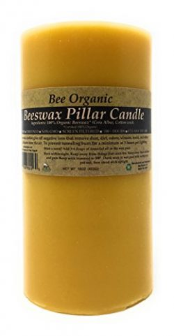 100% Organic Beeswax Pillar Candle, Non-GMO, Raw, Unrefined and Screen Filtered. Unbleached Cott ...
