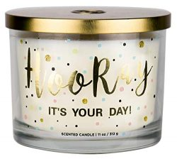Aromascape Hooray it's Your Day 3-Wick Scented Candle (Vanilla Frosting and Almond Milk)