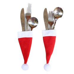 Christmas Caps Decor,Lovesunny Fork Spoon Christmas Decor Bag Applied to Family Dinners or Gathe ...