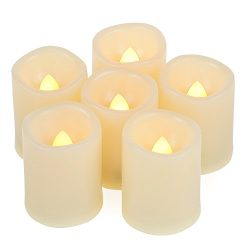 6 Pack Battery Operated Flameless LED Votive Candles with Timer Realistic Flickering Electric Te ...