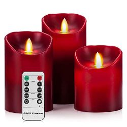 Aku Tonpa Flameless Candles Battery Operated Pillar Real Wax Flickering Moving Wick Electric LED ...