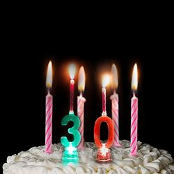 LOGUIDE Number Birthday Cake Candle Set – Color Changing LED Candle Celebration Candlestic ...
