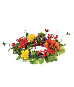 Sullivans Small Artificial Spring Table Wreath (Orange, Red, Yellow Mix)