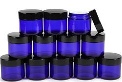 Vivaplex, 12, Cobalt Blue, 2 oz, Round Glass Jars, with Inner Liners and black Lids