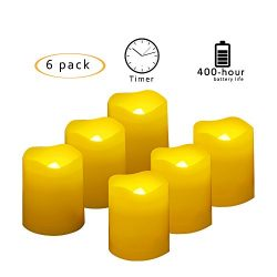 Battery Operated LED Votive Candles with Timer Realistic Flickering Flameless Tea Lights Set Bul ...