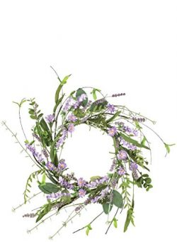 Sullivans Artificial Lavender Candle Ring Wreath, 12″