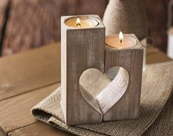 Wood candle holders Valentines Day Gift for Her Wedding gift ideas Rustic candle holder Wooden h ...