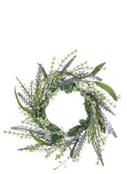 Sullivans Artificial Lavender Candle Ring Wreath, 14″