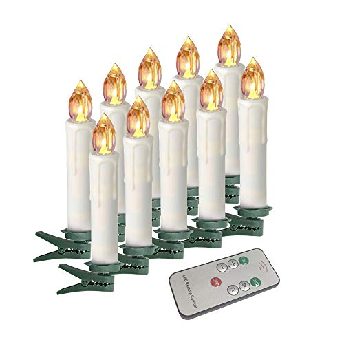 Houdlee LED Flameless Taper Candles with Remote Control and Removable Clips,Flickering 4 Inches  ...