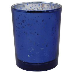 Just Artifacts Mercury Glass Votive Candle Holder 2.75″ H (12pcs, Speckled Navy Blue) -Mer ...