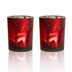 lEPECQ Party Candle Holder, Votive Candle Holders Gift, 3.14″ H – Red Candle Holders ...