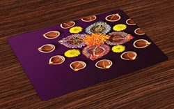 Ambesonne Diwali Place Mats Set of 4, Festive Celebration in Religious Sacred Day Diwali Flowers ...