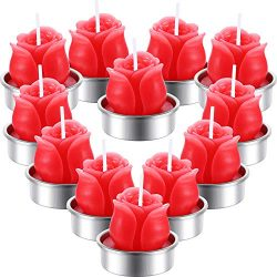 TecUnite 12 Pieces Rose Tealight Candles Handmade Delicate Rose Flower Candles for Valentine&#82 ...