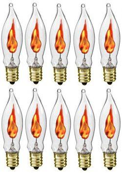 Creative Hobbies A101 Flicker Flame Light Bulb -3 Watt, 130 volt, E12 Candelabra Base, Flame Sha ...