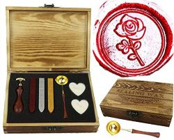 MNYR Romantic Rose Wax Seal Stamp Wax Sticks Candle Spoon Wooden Gift Box Kit Set- Ideal for Val ...